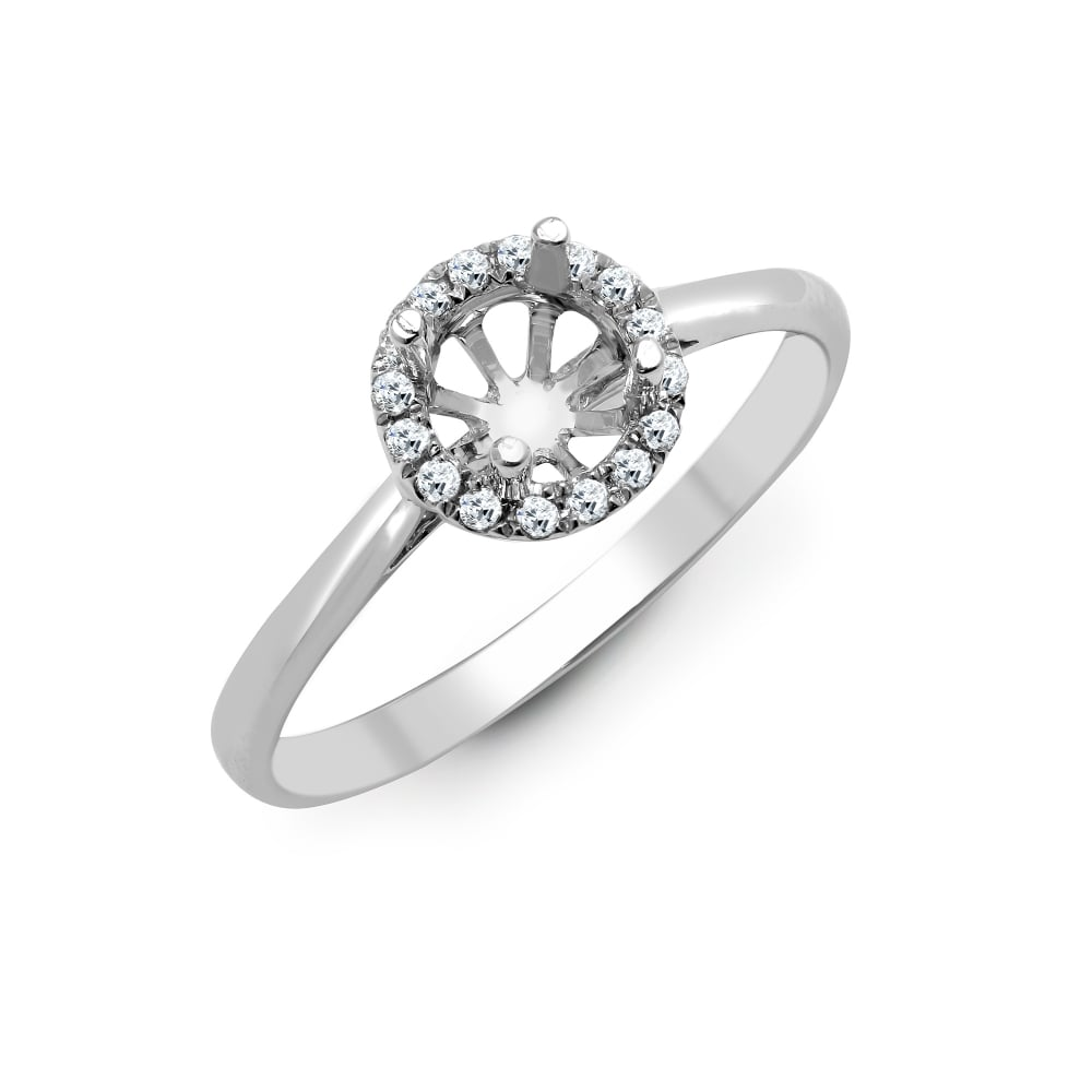 7c68c35ac5c94 18ct White Gold 0.12ct Diamond Semi Set Halo Ring - Holds 1.00ct