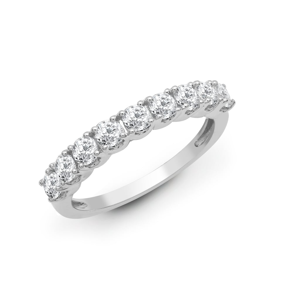 18ct White Gold 050ct 9 Stone Claw Set 1 2 Eternity Ring