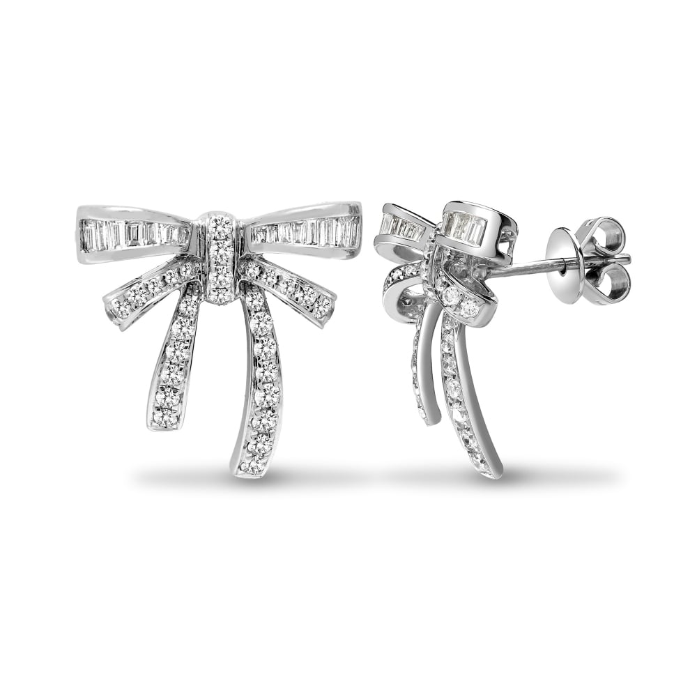18ct White Gold 0 76ct Round Baguette Diamond Bow Earrings