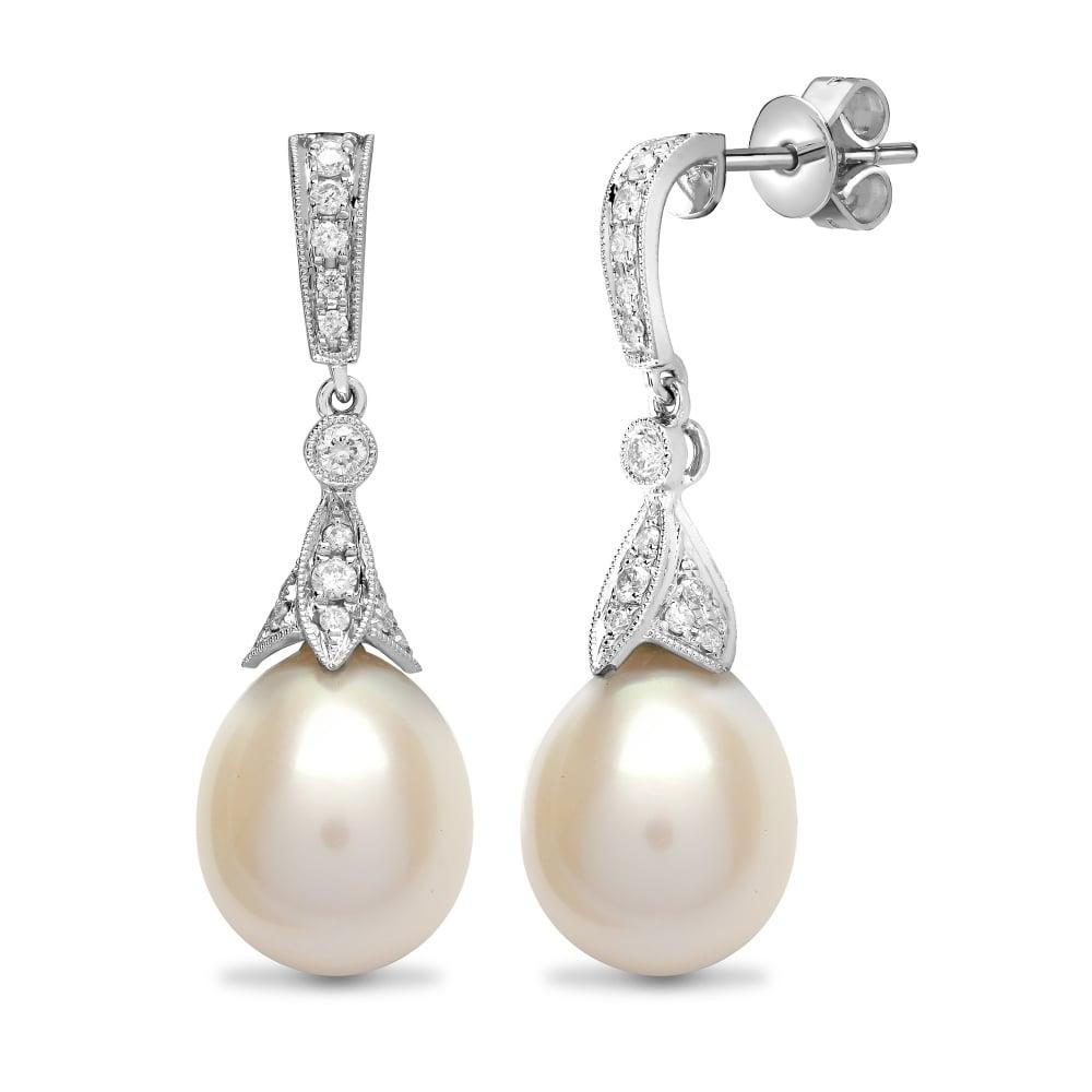 18ct White Gold 50pt Diamond Pearl Drop Earrings