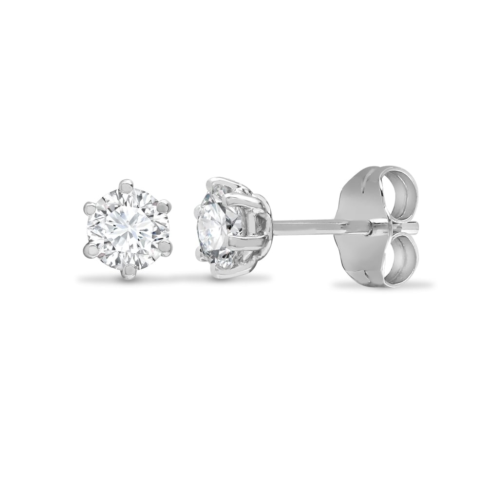 18ct White Gold 75pt 6 Claw Diamond Solitaire Stud Earring