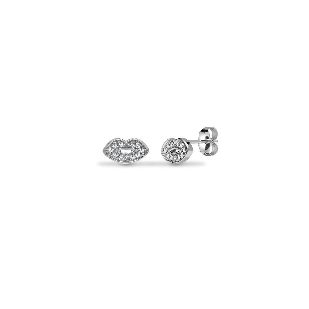 9ct White 10pts Diamond Lips Stud Earrings