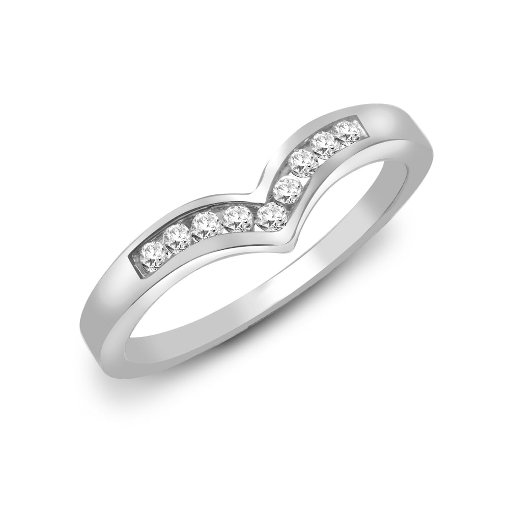 White Gold 15pts Channel Set Wishbone Ring