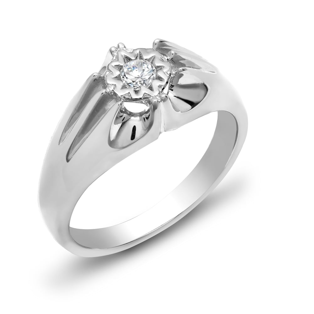 White Gold 20pts Gents Single Stone Diamond Ring