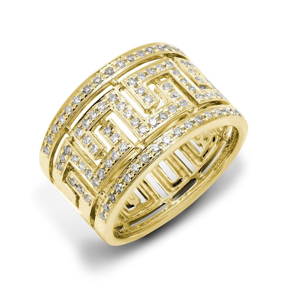 9ct Yellow 0 50 Diamond Greek Key Style Ring