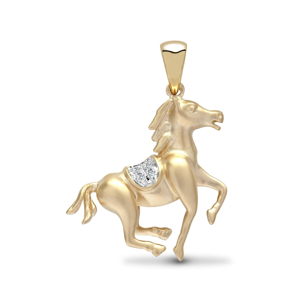 9ct yellow 1pt diamond horse pendant aloadofball Choice Image