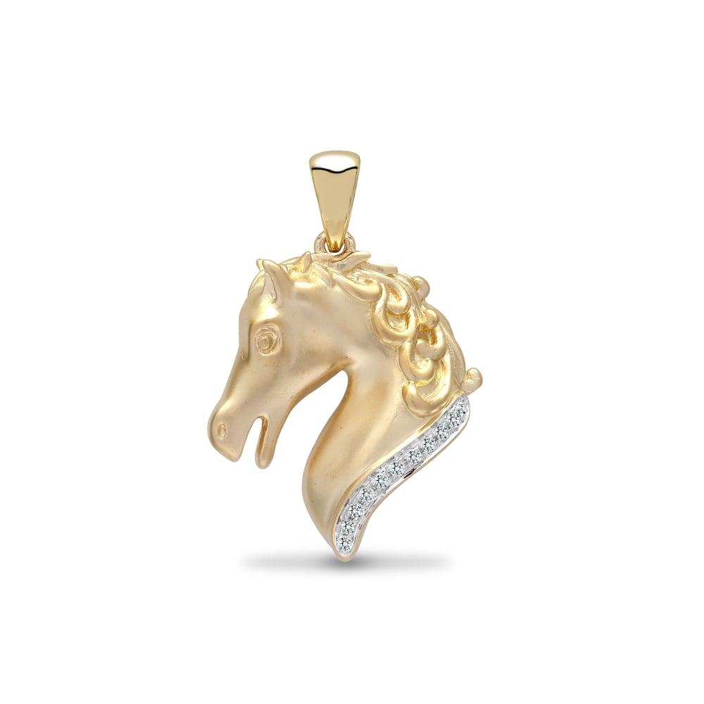 9ct yellow 6pts diamond horse head pendant aloadofball Choice Image