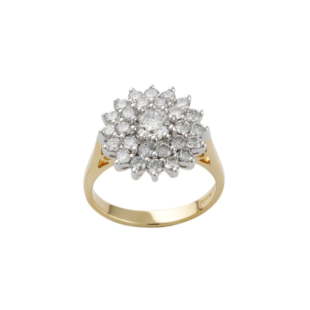 9ct Yellow And White Gold Diamond Cluster Ring Diamonds From Personal Jewellery Service Uk