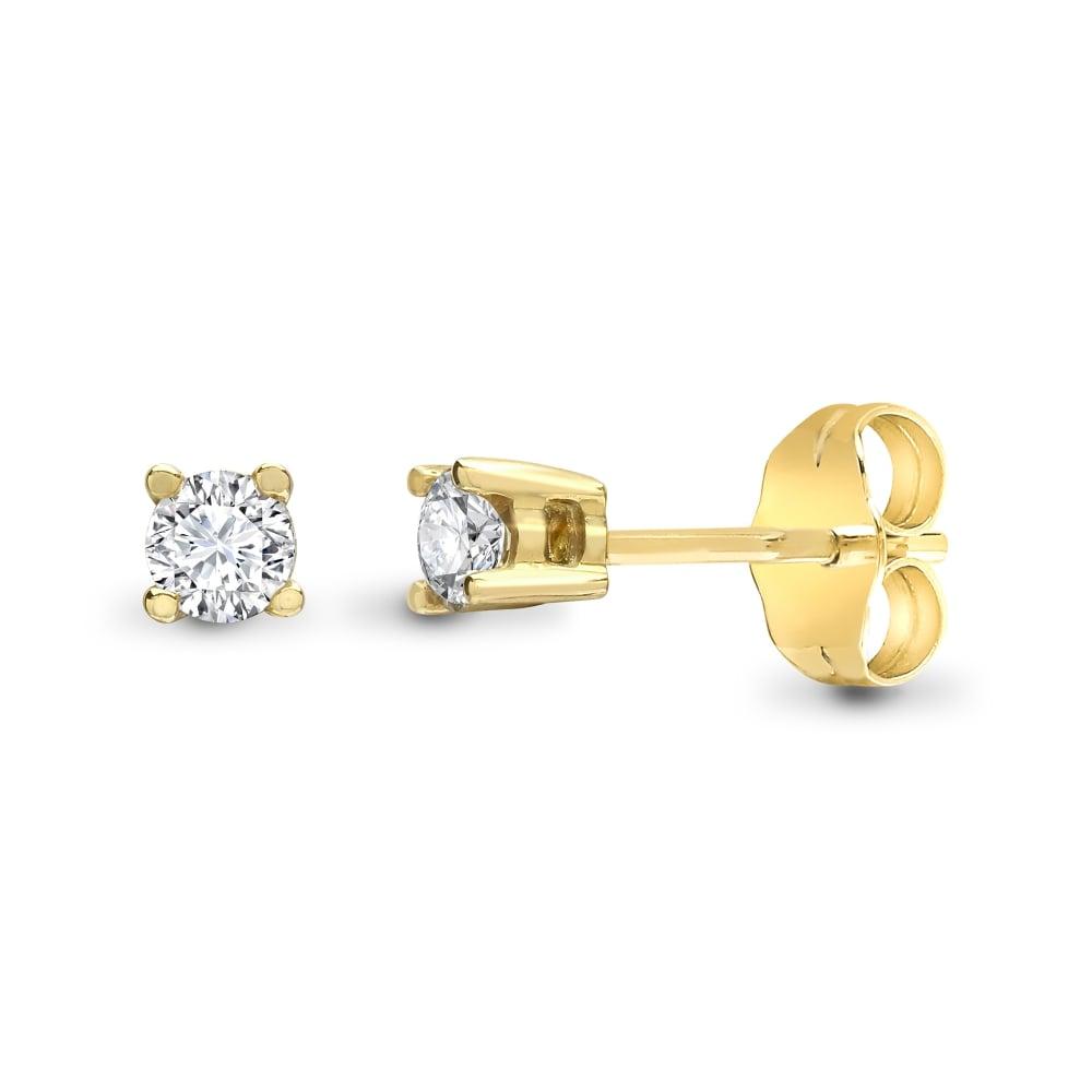 9ct Yellow Gold 20pts Diamond Stud Earrings