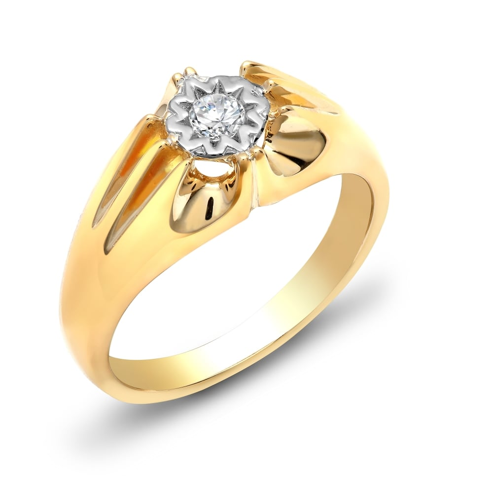 Yellow Gold 20pts Gents Single Stone Diamond Ring