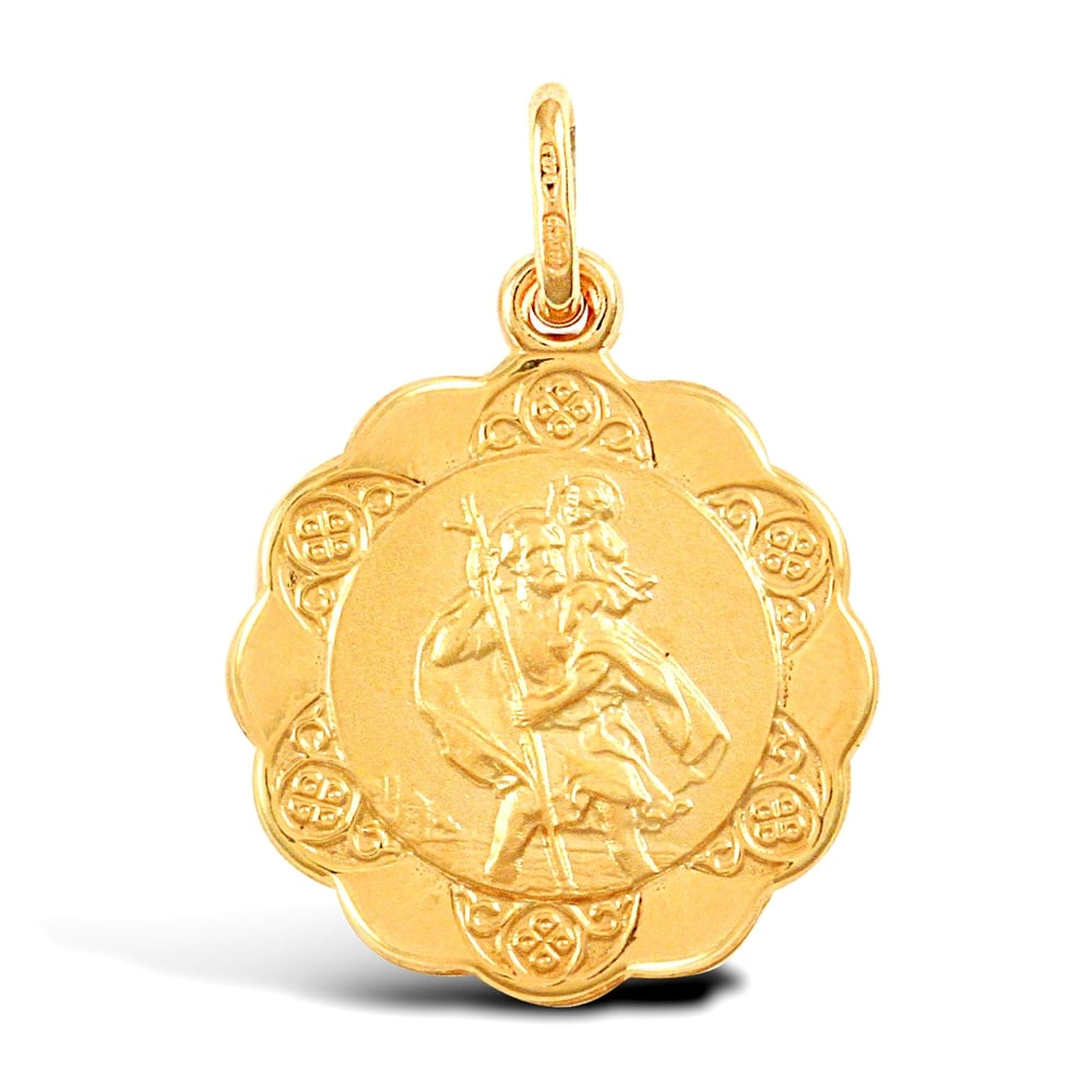 9ct gold st christophers 9ct yellow gold scallop edged st christopher medallion pendant aloadofball Images