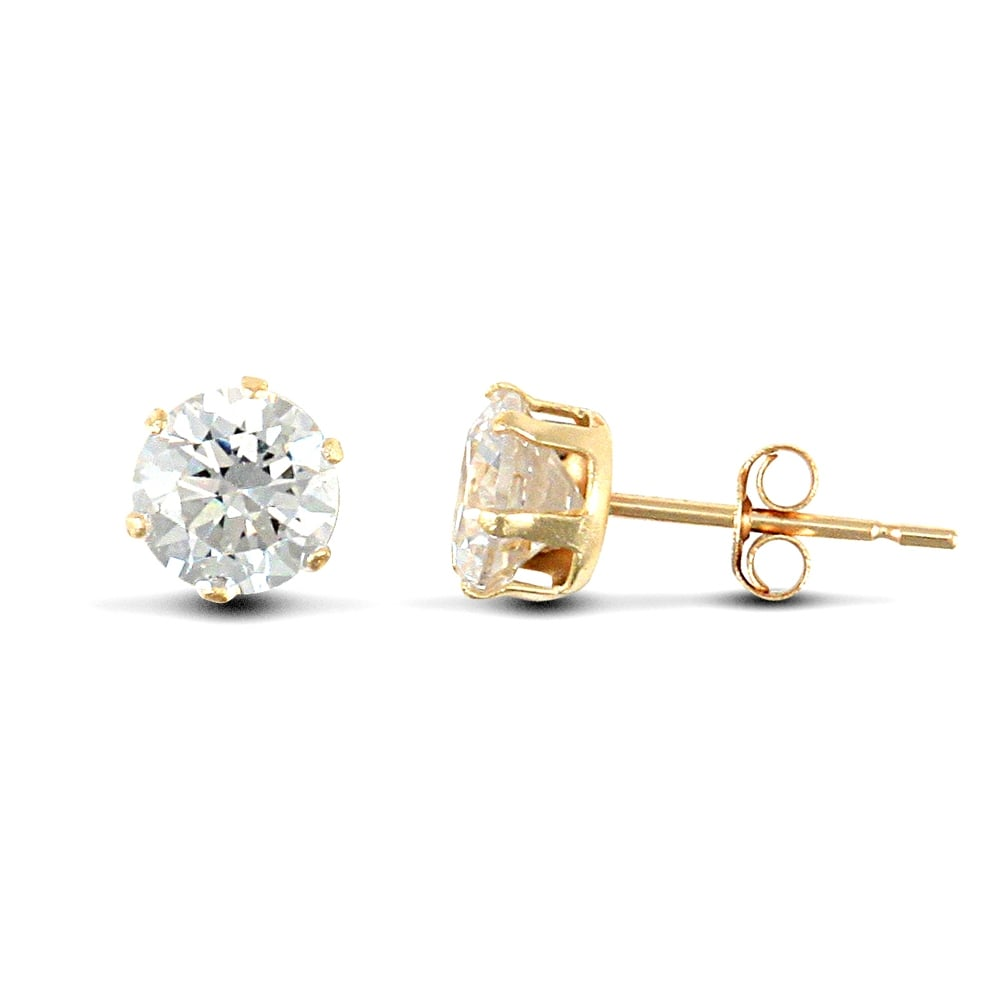 80e90764a 9ct Yellow Gold White Round Brilliant Cubic Zirconia 6 Claw Solitaire Stud  Earrings, 5mm