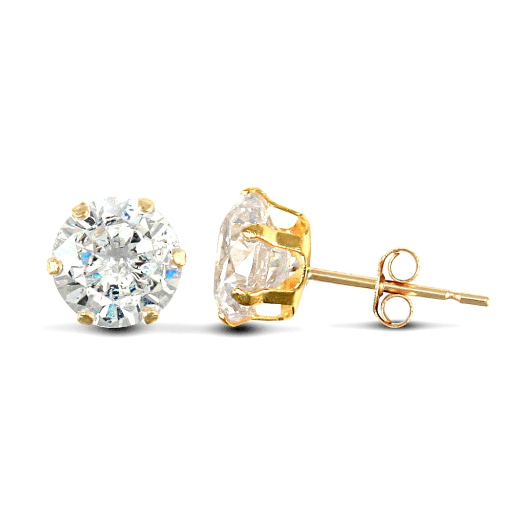 9ct yellow gold 6mm cubic zirconia stud earrings DxOx8w2Cxh