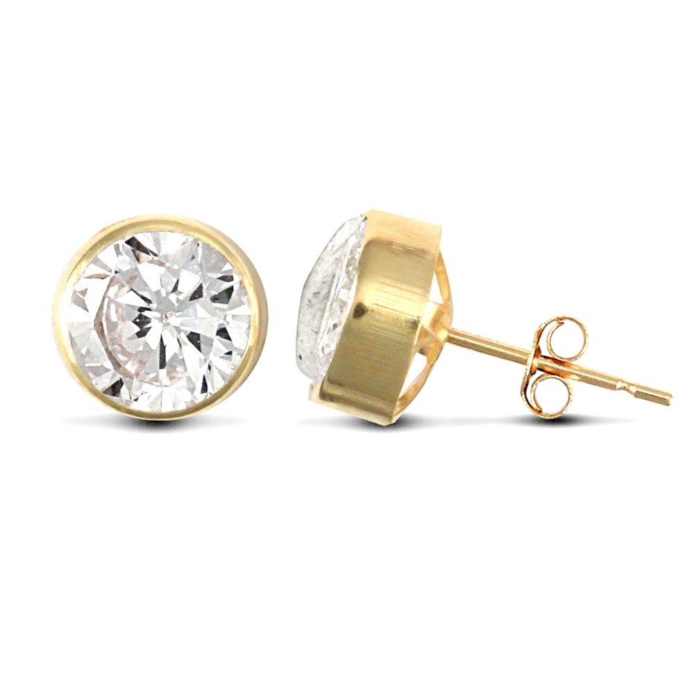 9ct Yellow Gold White Round Brilliant Cubic Zirconia Rub Over Solitaire Stud Earrings 7mm