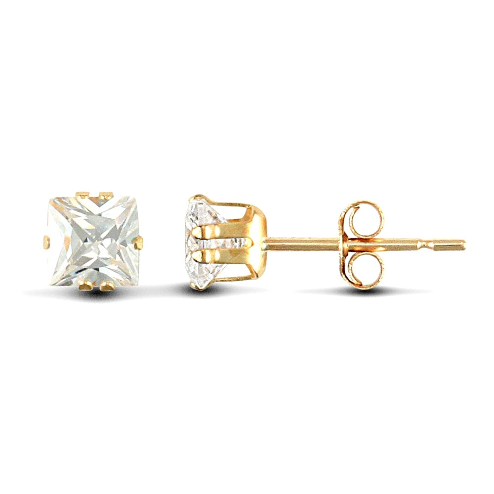 9ct Yellow Gold White Square Cubic Zirconia Claw Set Solitaire Stud Earrings 4mm