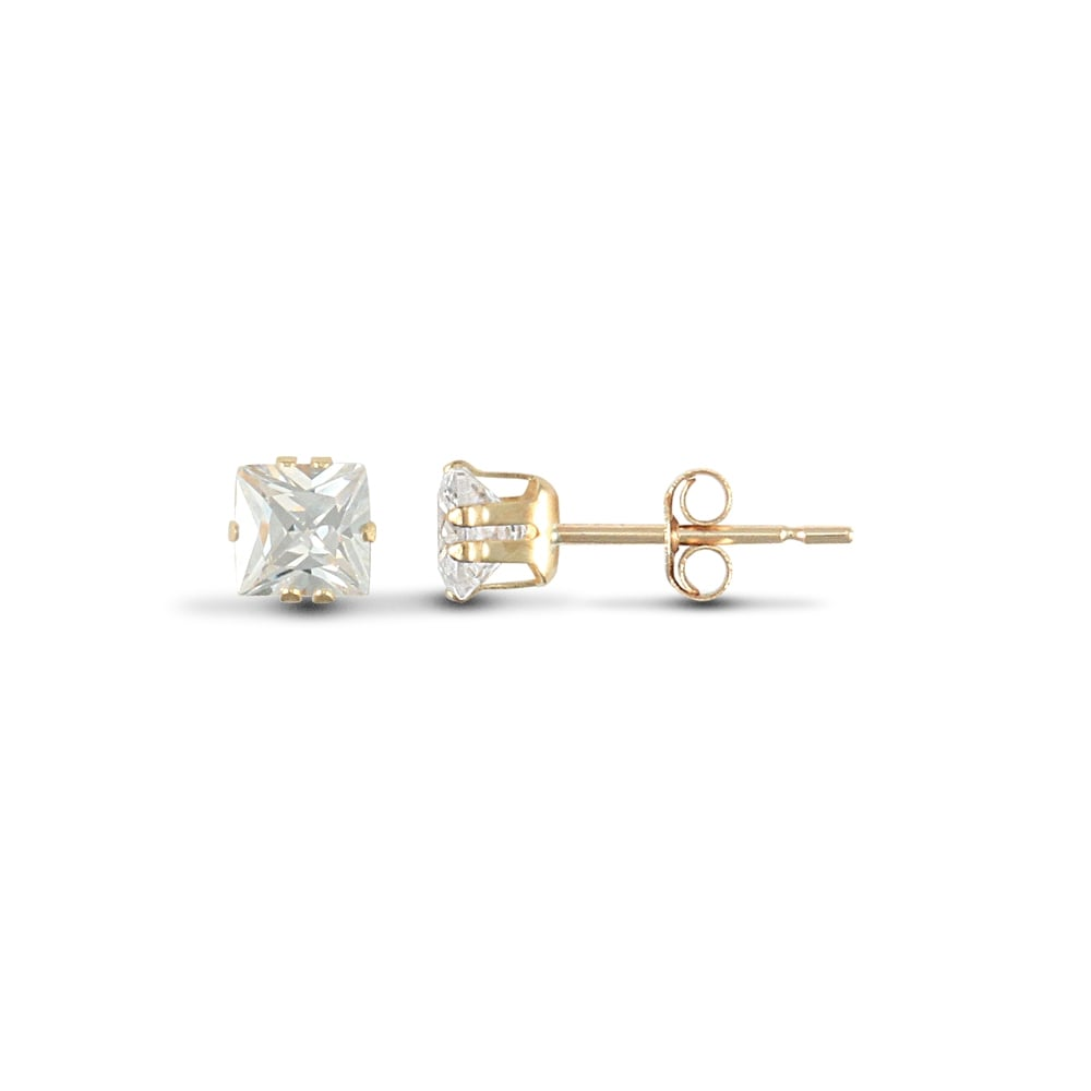 9ct yellow gold 6mm cubic zirconia stud earrings GsWAG2sSh4
