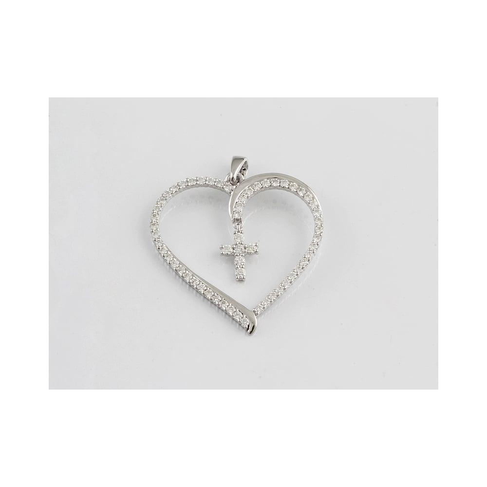 18ct White Gold Diamond 1 28ct Heart Pendant