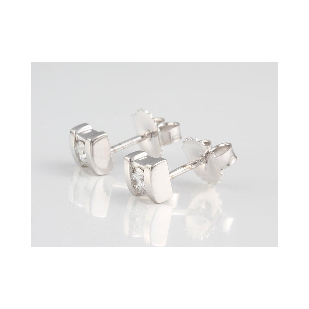 18ct White Gold Diamond Stud Earrings 28pts