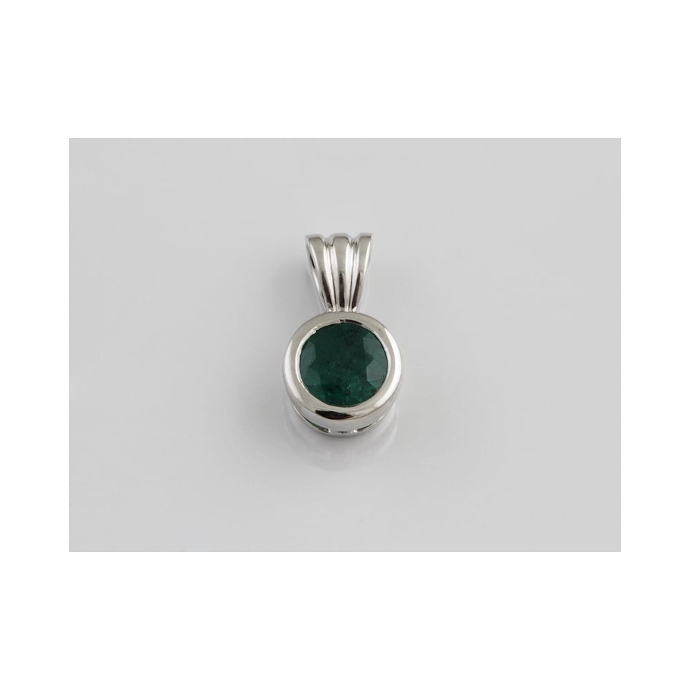 Albion 18ct white gold single stone emerald pendant 76pts sale 18ct white gold single stone emerald pendant 76pts aloadofball Images