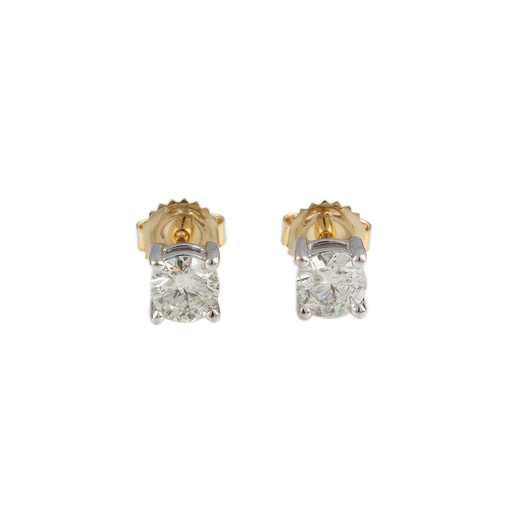 18ct Yellow And White Gold Diamond Stud Earrings 1 00ct