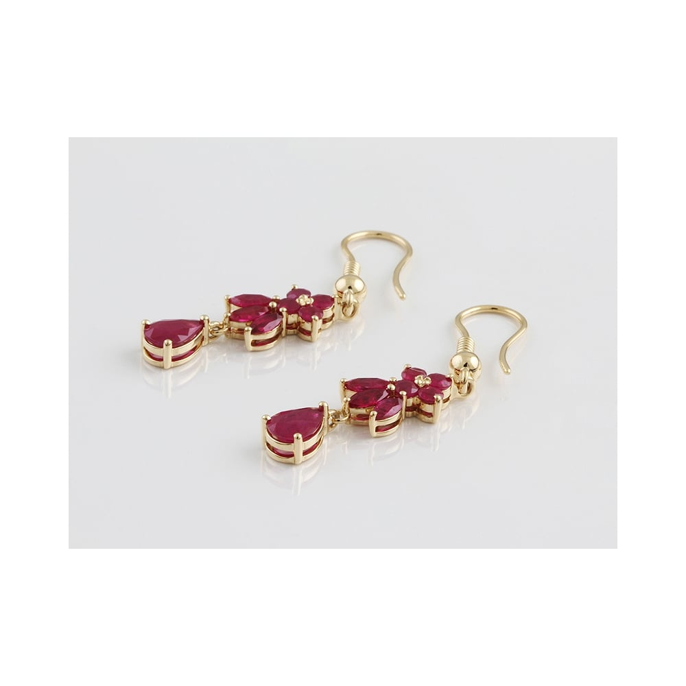18ct Yellow Gold Ruby Drop Earrings 3 31ct