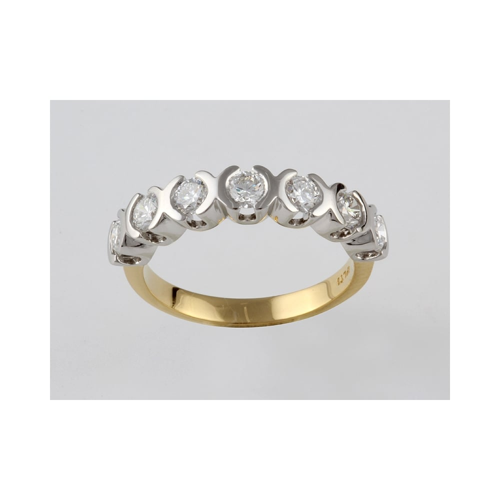 Albion 22ct Yellow Gold Diamond 91pts Eternity Ring With Platinum