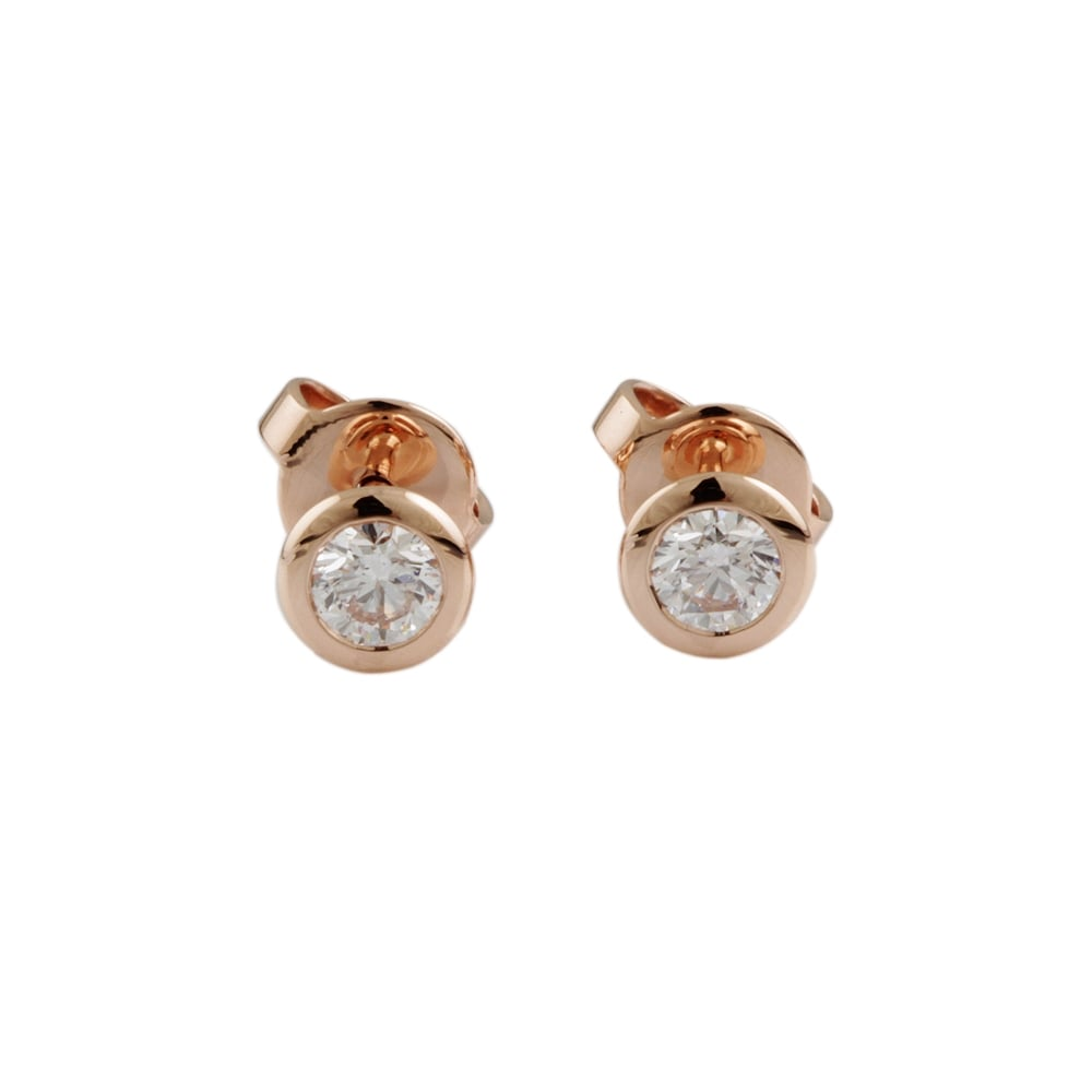 9ct Rose Gold Diamond 0 50ct Stud Earrings