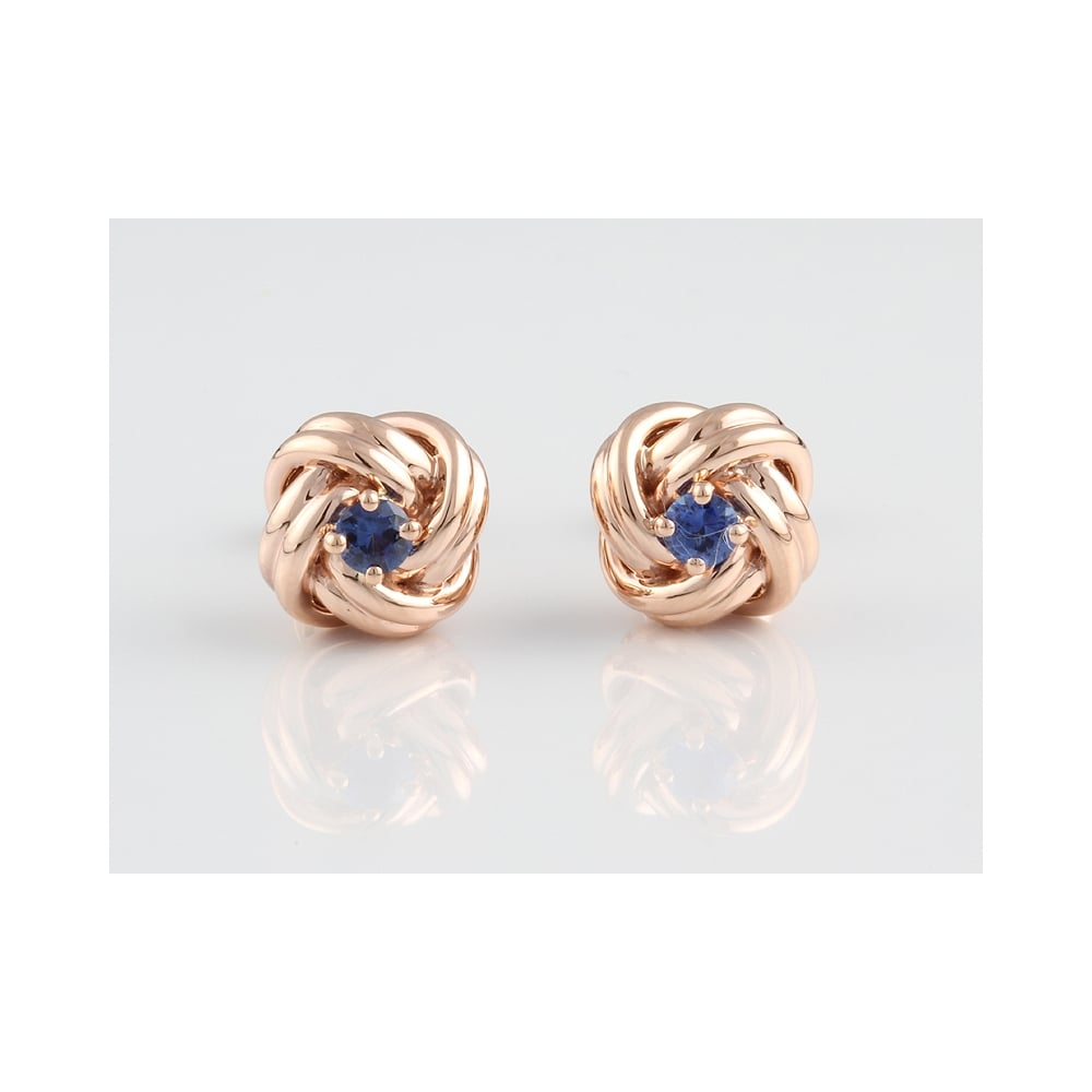 9ct Rose Gold Shire 38pts Knot Earrings