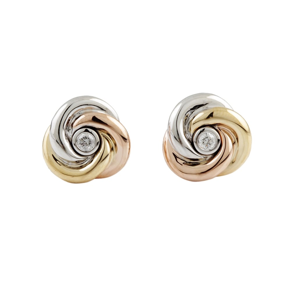 9ct Rose Yellow And White Gold Diamond 0 09ct Knot Stud Earrings