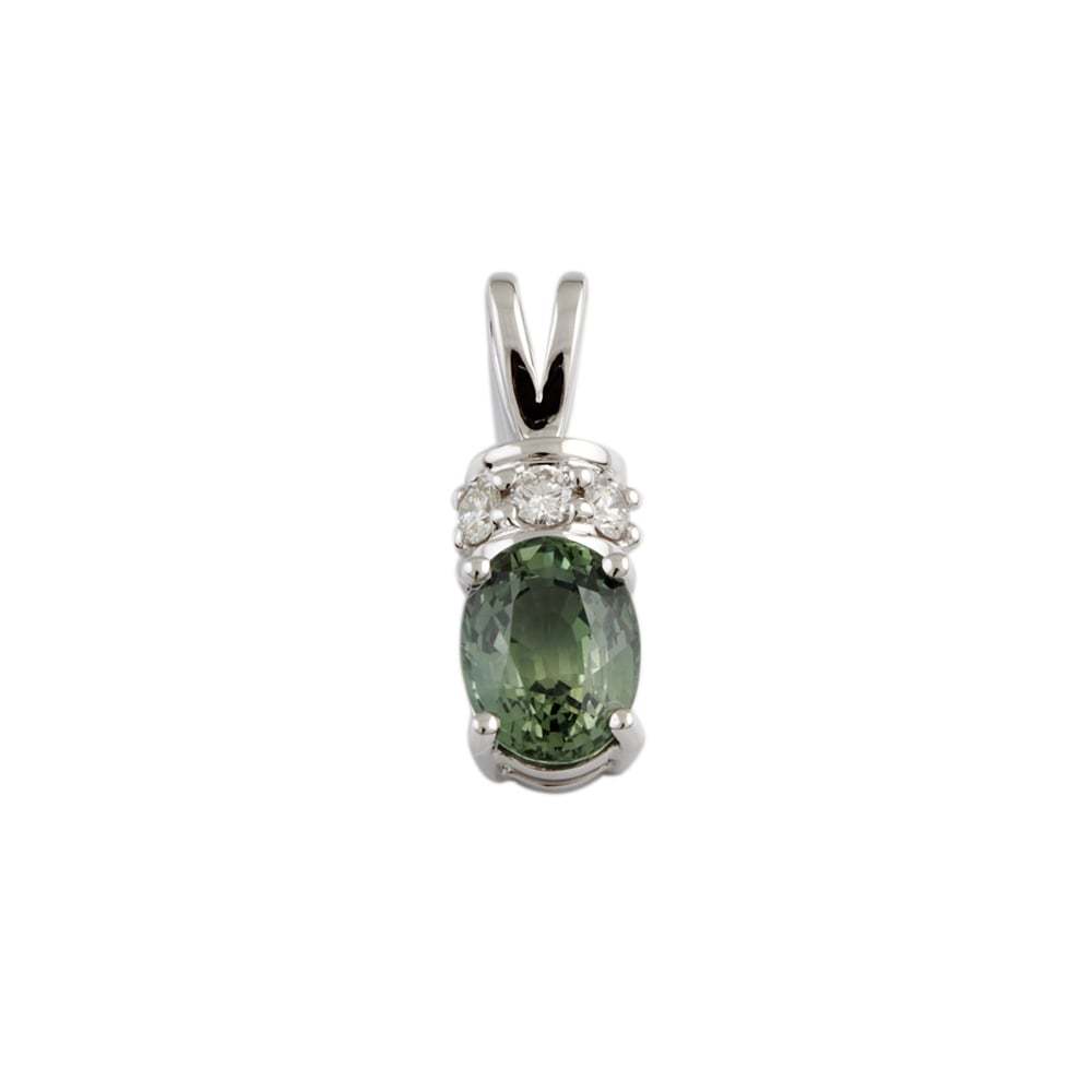 Albion 9ct white gold 229ct green sapphire and 014ct diamond 9ct white gold 229ct green sapphire and 014ct diamond pendant aloadofball Image collections