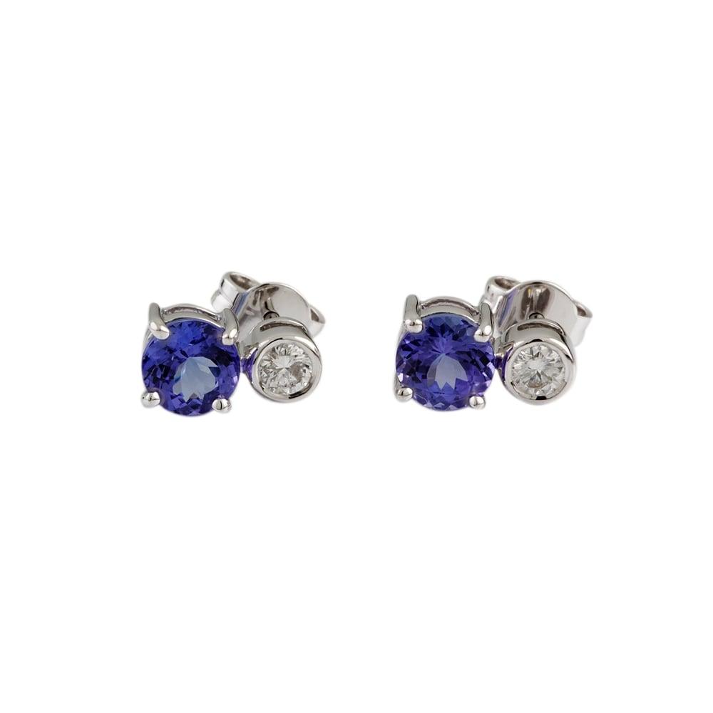 9ct White Gold 3 44ct Tanzanite And 0 31ct Diamond Earrings