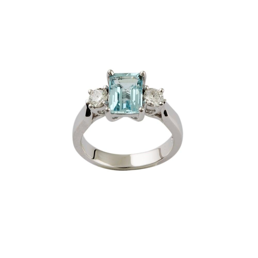 c0bf0bebc9cda 9ct White Gold Aquamarine and Diamond Three Stone Ring