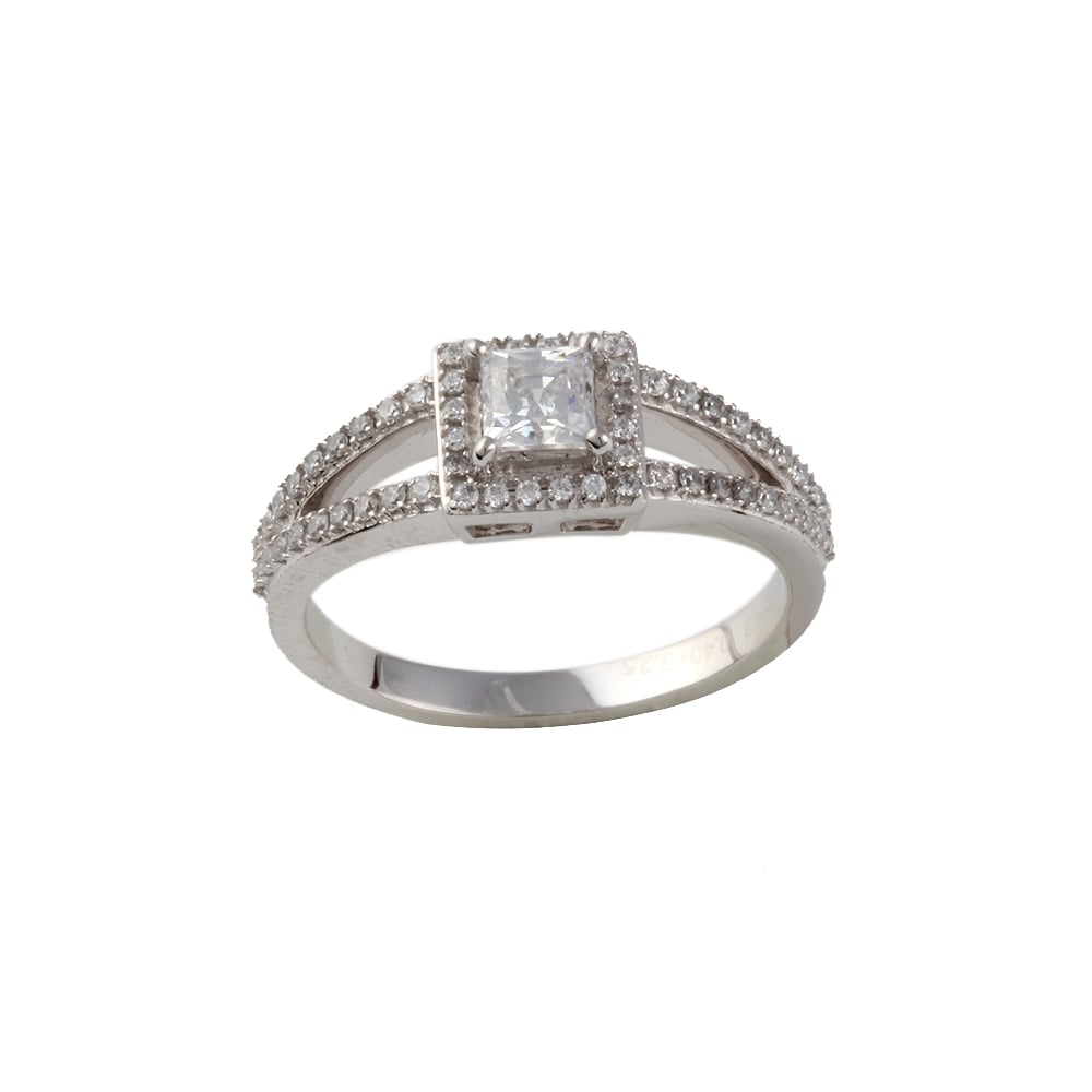 ae64fe76b360e Albion 9ct white gold cluster ring with diamond set shoulders