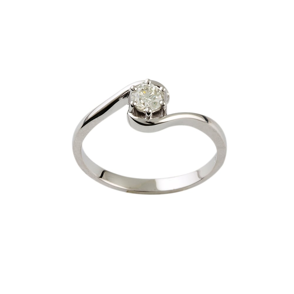 Albion 9ct White Gold Diamond Solitaire Ring 0 40ct