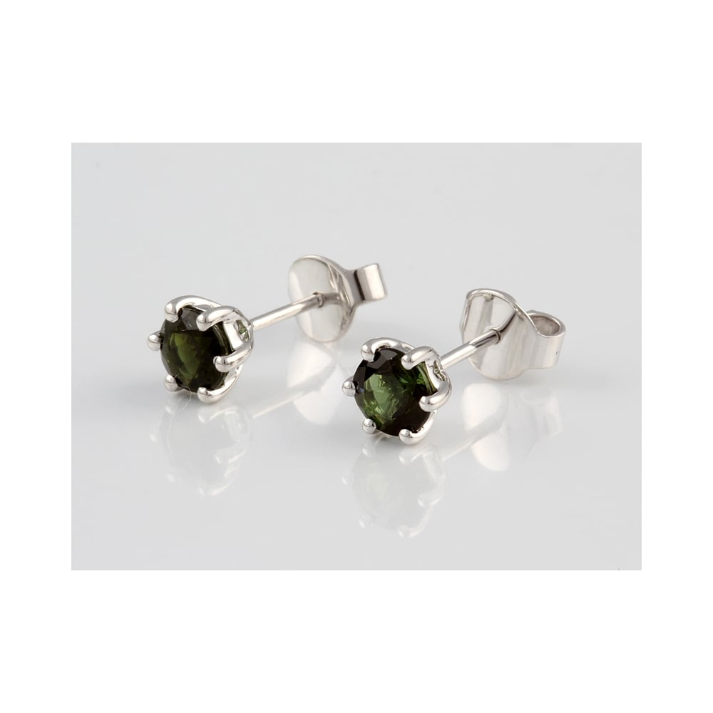 9ct White Gold Green Tourmaline Stud Earrings 1 00ct