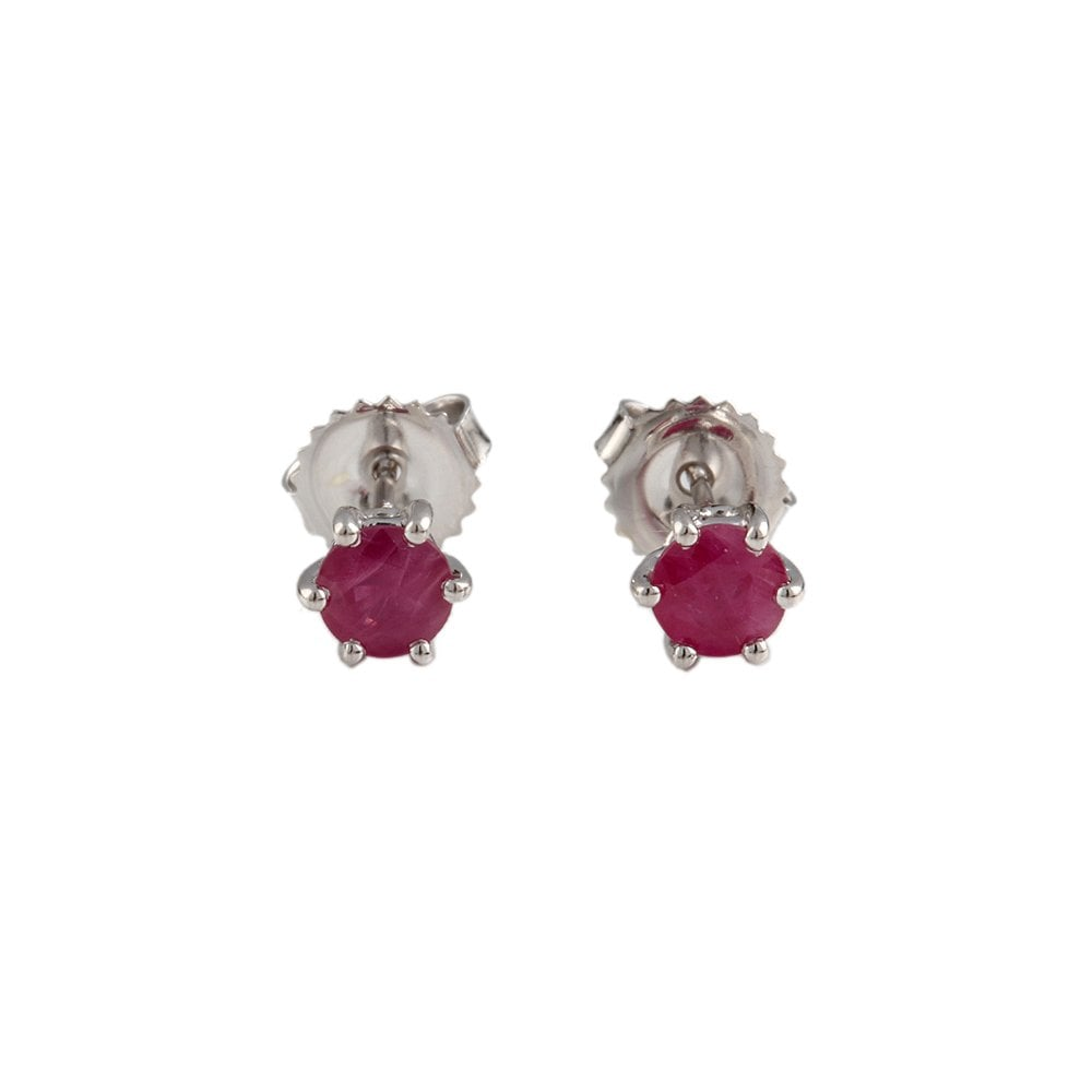 9ct White Gold Six Claw Ruby Earrings