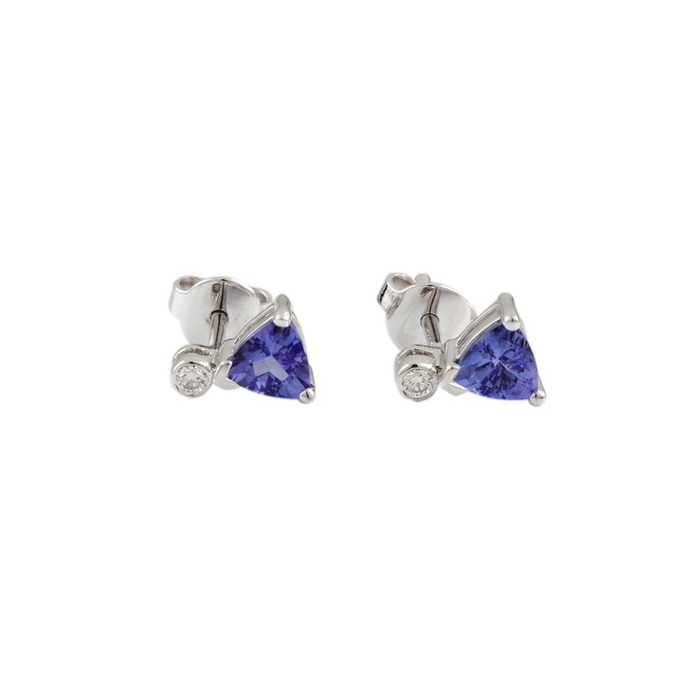 9ct White Gold Tanzanite 1 03ct And Diamond 0 06ct Stud Earrings