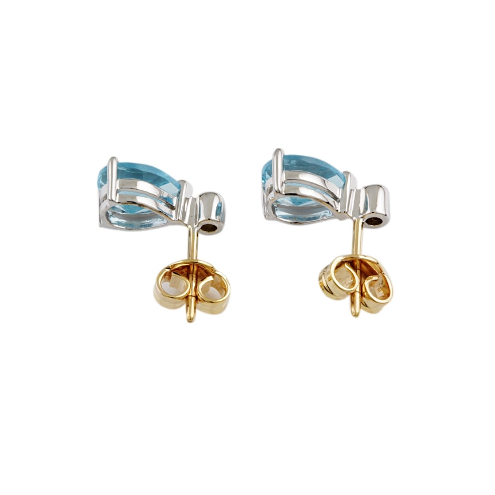 ec230dabfef35 9ct Yellow and White Gold Blue Topaz and Diamond Stud Earring