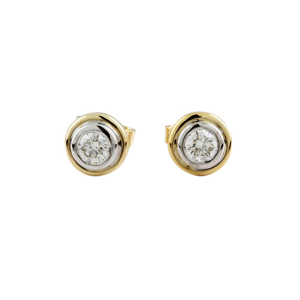 9ct Yellow And White Gold Diamond Stud Earring