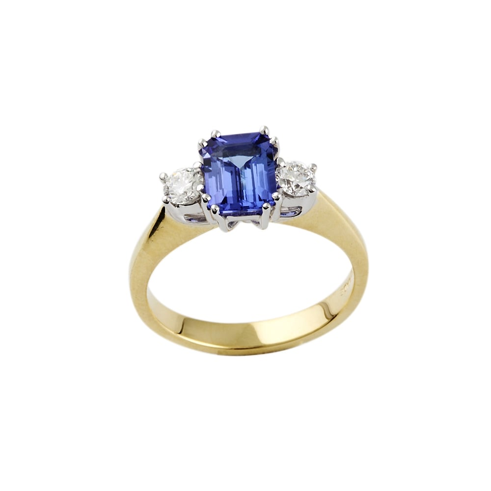and gold white tanzanite ring diamond