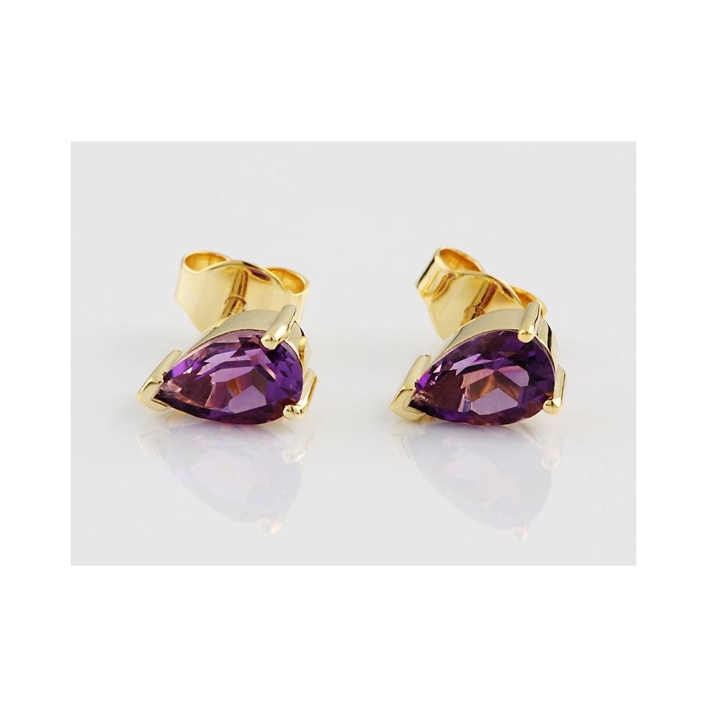 9ct Yellow Gold Amethyst Stud Earring 1 51ct