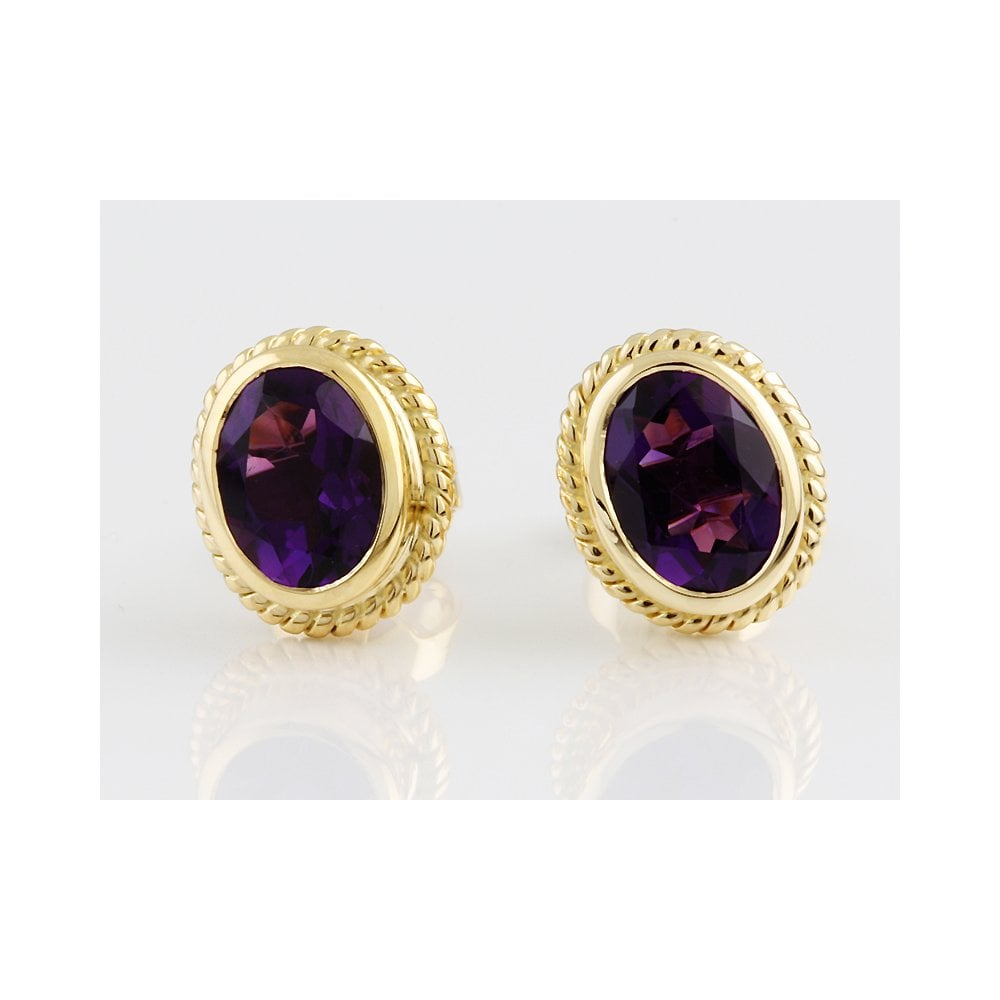 9ct Yellow Gold Amethyst Stud Earring 2 00ct