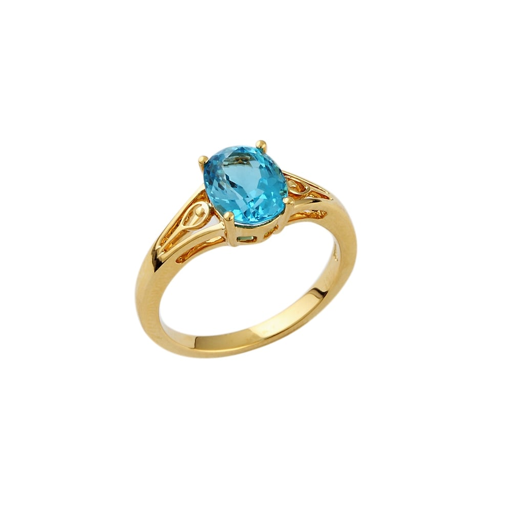 9ct yellow gold blue topaz single stone ring 278ct