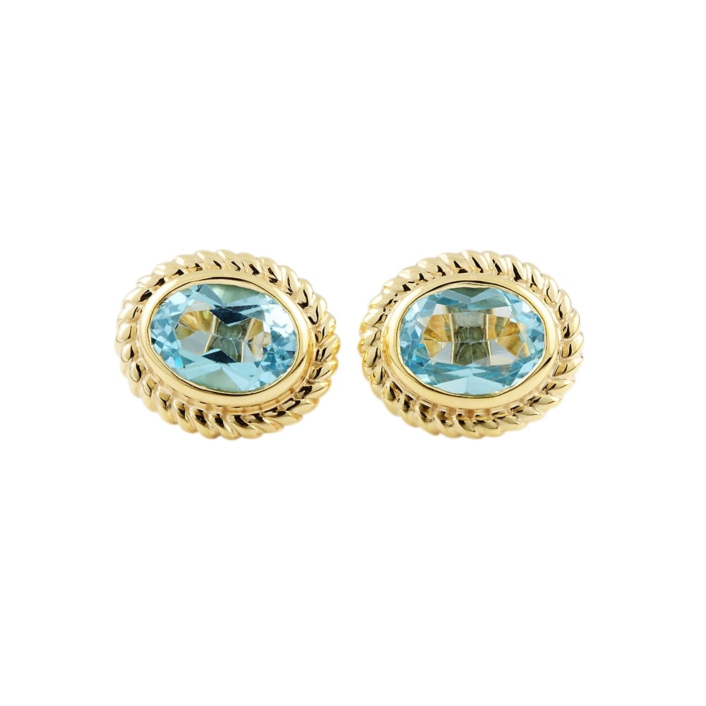 9ct Yellow Gold Blue Topaz Stud Earring