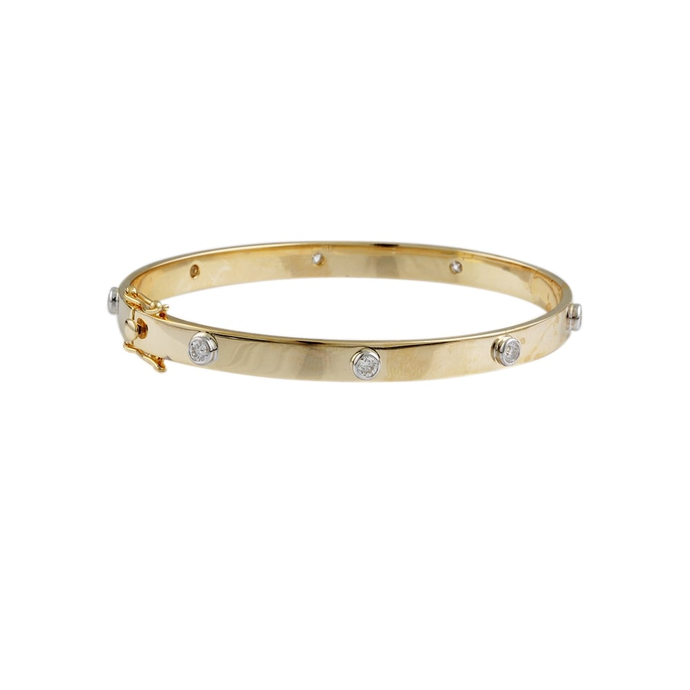 9ct Yellow Gold Diamond Set Bangle