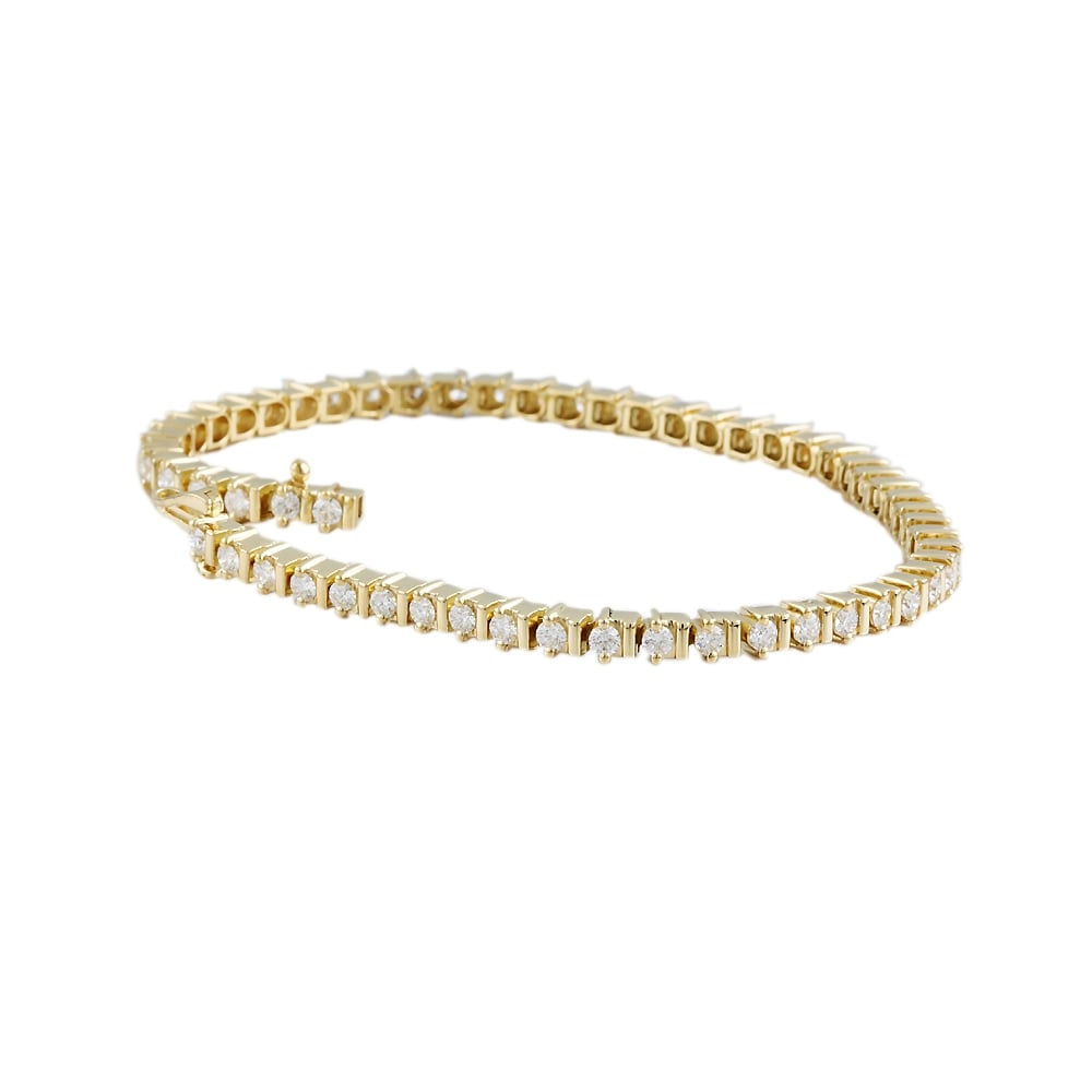 9ct Yellow Gold Diamond Tennis Bracelet 2 65ct