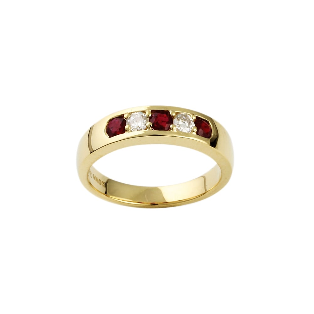 Albion 9ct Yellow Gold Ruby and Diamond Five Stone Ring Gem Set