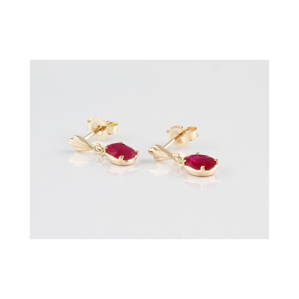 9ct Yellow Gold Ruby Drop Earrings 1 39ct