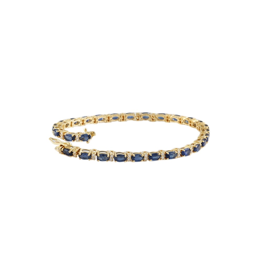 sapphire karat owned diamond yellow bracelet product gold pre