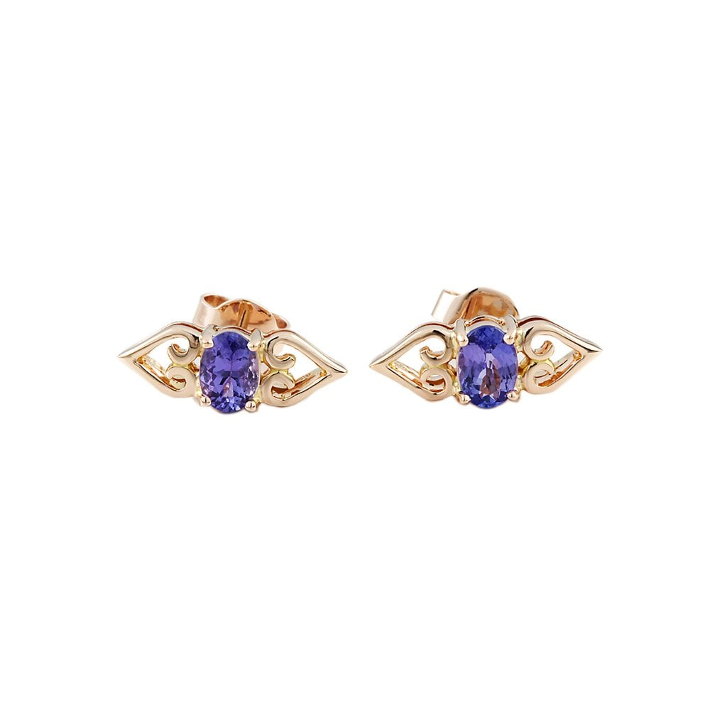9ct Yellow Gold Tanzanite Earrings 1 20ct